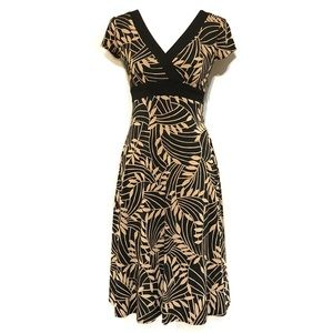 Dress Barn Tan And Black Palm Print V-Neck Dress